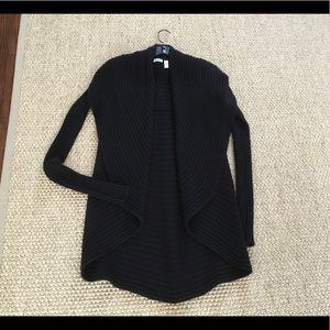 Autumn Cashmere Rib Drape Black cardigan size XS .